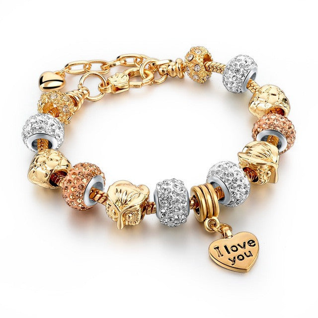 I Love You  Crystal Beads Charm Bracelet
