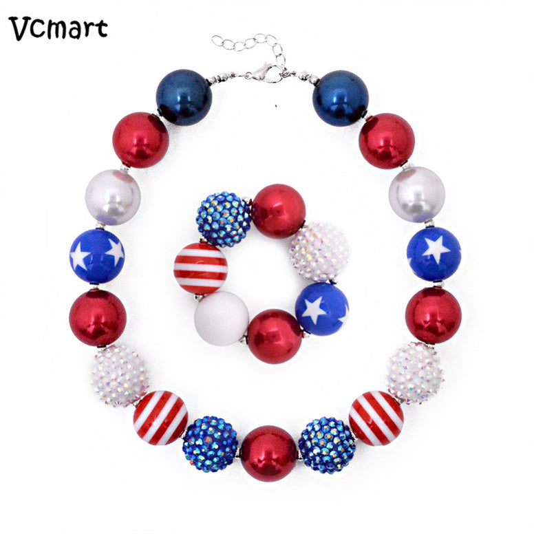 July 4th Chunky Beads Necklace Set
