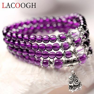 Purple Beaded Multi-Layer Wrap Bracelets