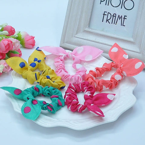 16 PCs Cute dot bunny Baby girl elastic hair band