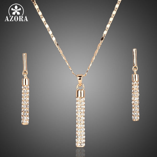 Crystals Drop Pendant Necklace Set