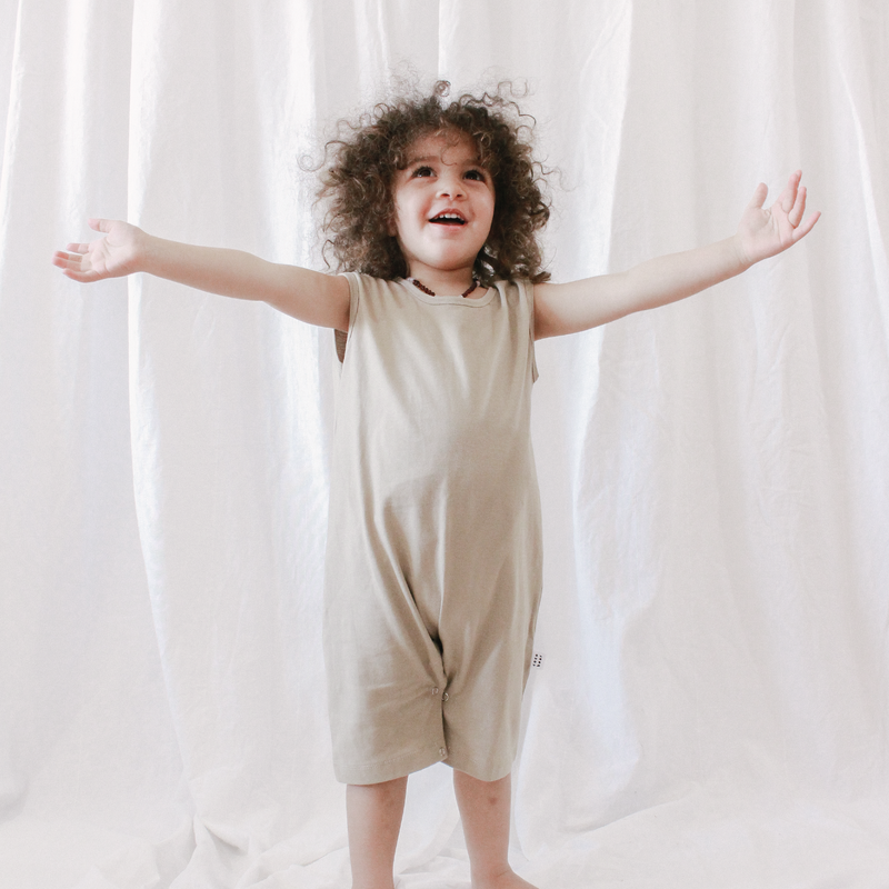 Coco Bear cotton summer romper, made for boys and girls.