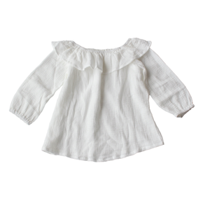 coco bear frill girls blouse - white cotton for summer