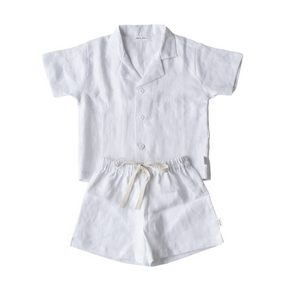 coco bear lounge, short set for summer, made from white linen.
