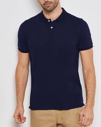 KAYLECT - Classic Pique Navy Blue Polo Shirt