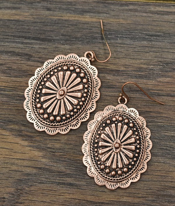 Copper Concho Earrings