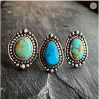 American Turquoise Ring with Polar Beading