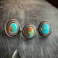 Rope with Border American Turquoise Ring