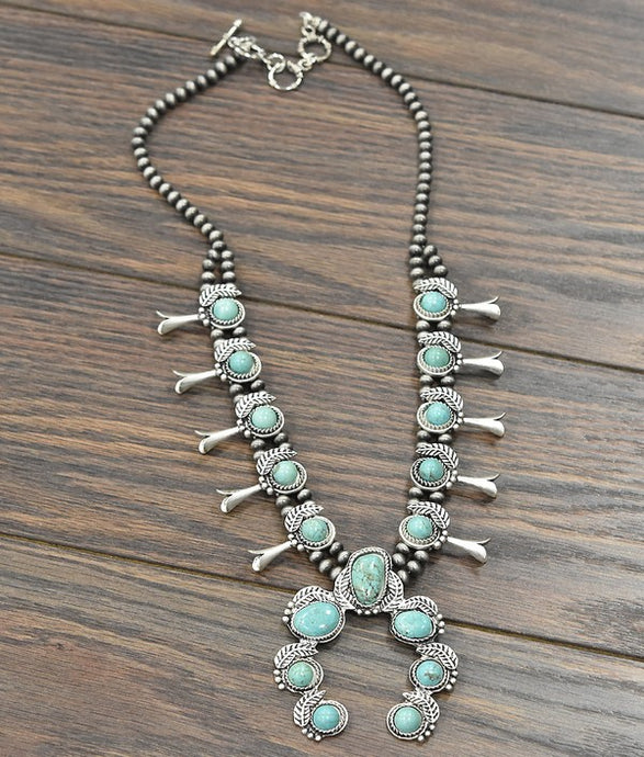 Full Squash Blossom Natural Turquoise Necklace