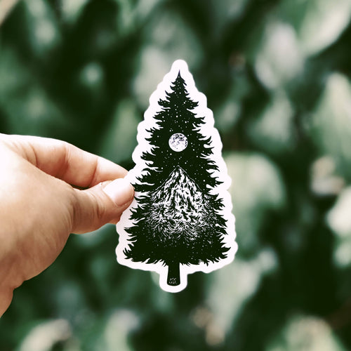 The Mountainous Tree Silhouette Vinyl Sticker