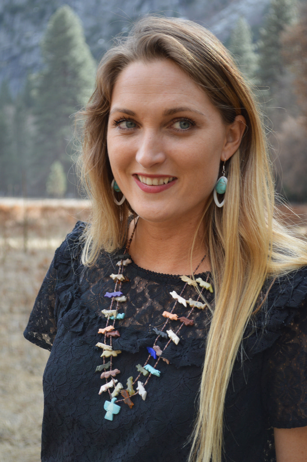 Zuni 2 Strand Fetish Necklace with Falcon
