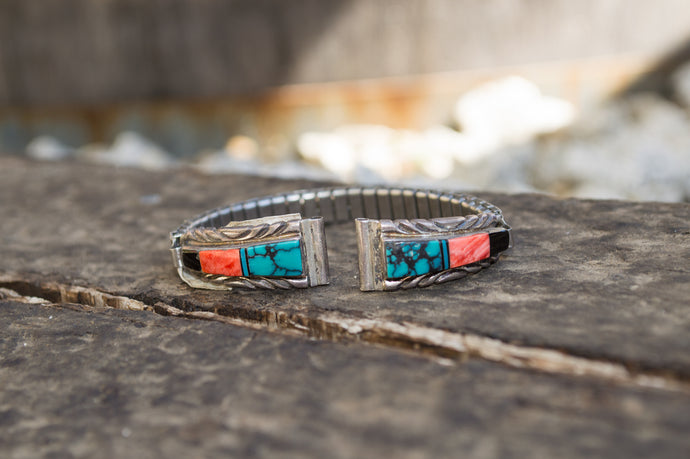 Zuni Inlay Watch Strap with Turquoise, Spiney Oyster, & Onyx