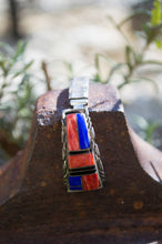 Zuni Inlay Watch Strap with Turquoise, Onyx & Spiney Oyster