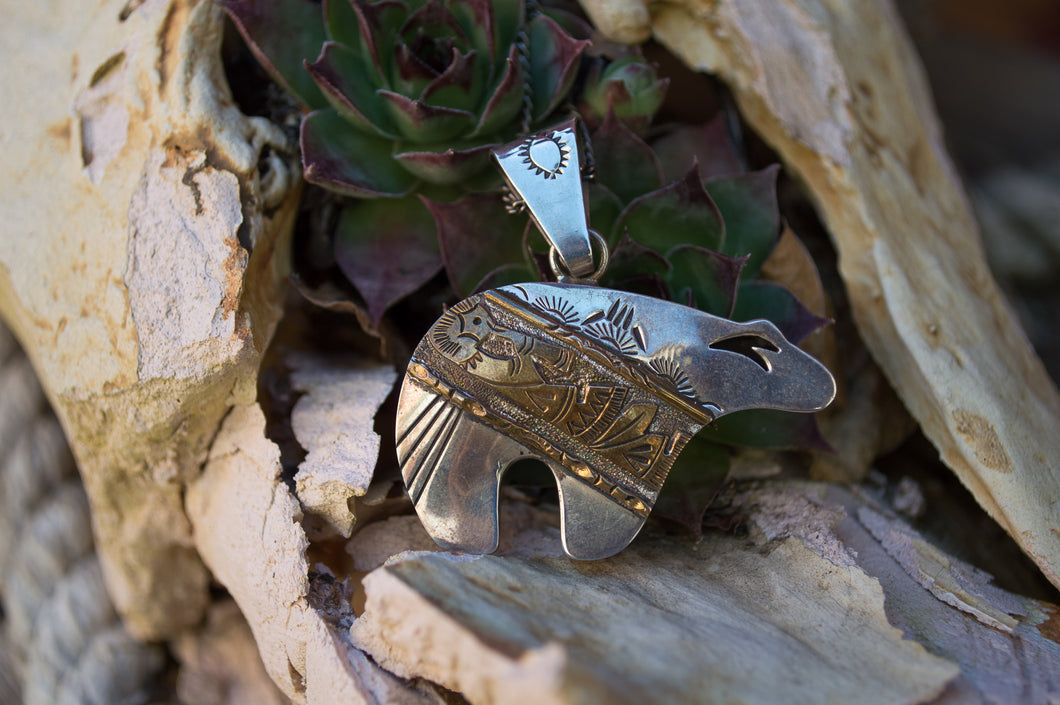 Navajo Sterling Silver & Gold Plated Bear Pendant by CP