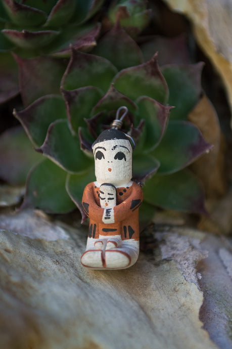 Navajo Storyteller with Baby Clay Pendant