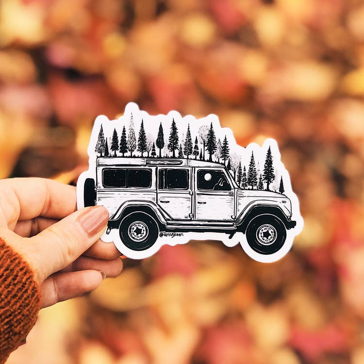 The Forested Jeep Vinyl Sticker