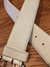 Vintage White Ostrich Leather Belt