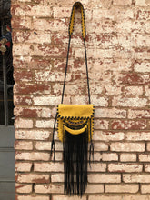 "Mustard Elk with Black Leather Fringe & Glass Beads ""Penelope"" Bag"
