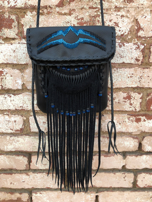 Black Leather with Black, Light Blue & Turquoise Beads