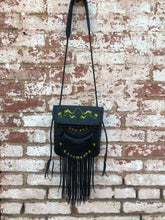 "Black Leather with Yellow, Olive & Clear Green Beads ""Penelope"" Bag"
