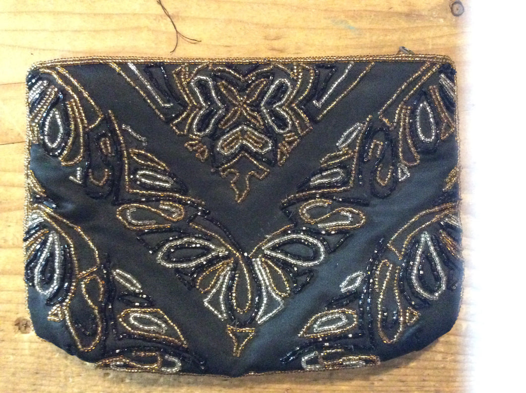 Vintage Black Clutch w/ Bead Embroidery