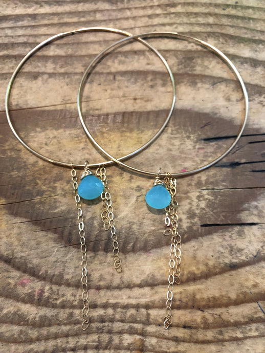 Chalcedony Gemstone Infinity Hoop Earrings with Tassel