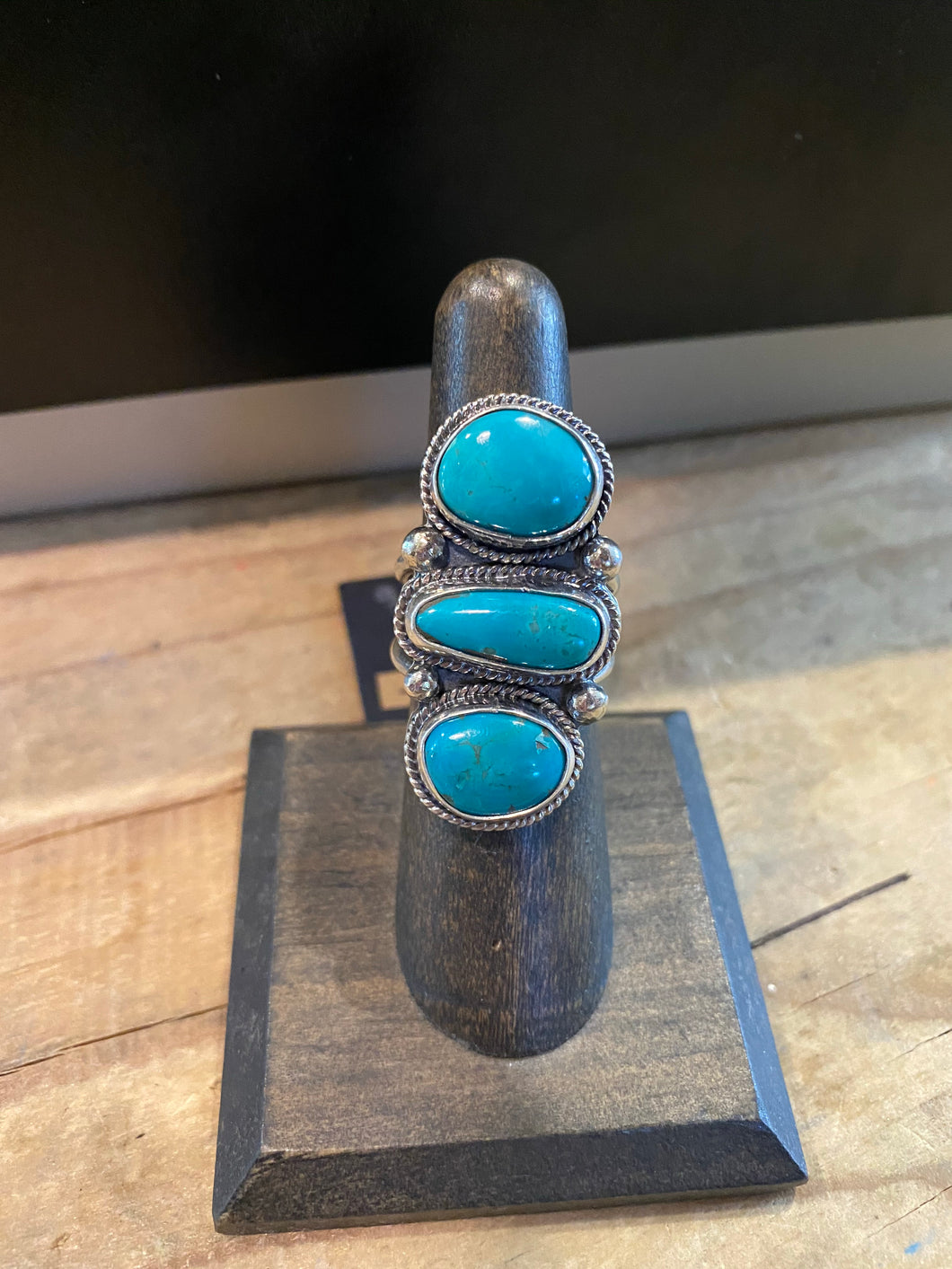American Turquoise Ring with Three-Stone Pillar