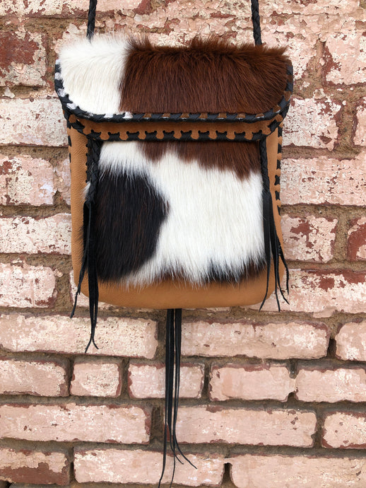 Tan Leather with Black Fringe & Tri Color Fur
