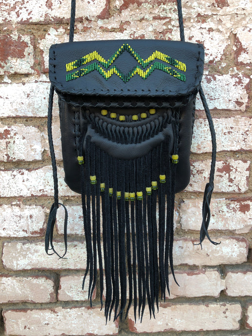 Black Leather with Yellow, Olive & Clear Green Beads