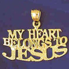 14K GOLD SAYING CHARM - MY HEART BELONGS TO JESUS #11461