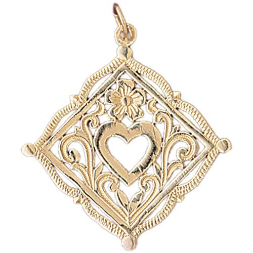 14K GOLD HEART CHARM #6998 - LA Charms, 14K GOLD CHARMS Jewelry, Golden-Charms USA LA Charms, LA Charms LA Charms