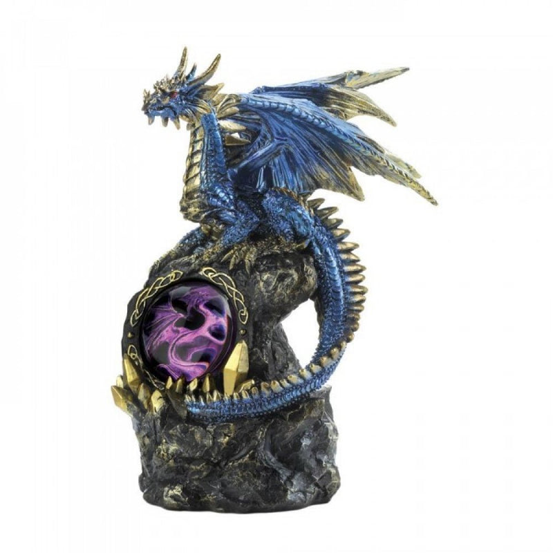 Lighted Blue Dragon On Rocks
