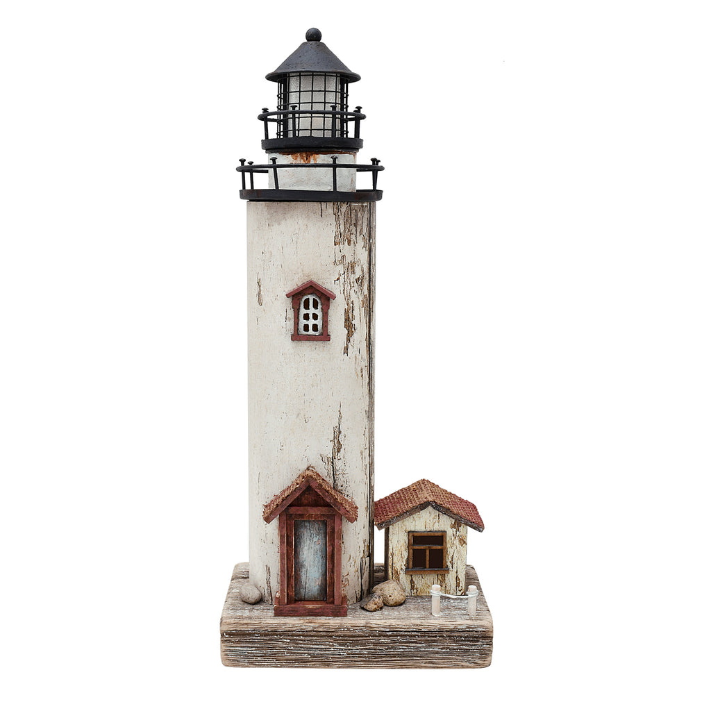 Lighthouse & house with lights 12""