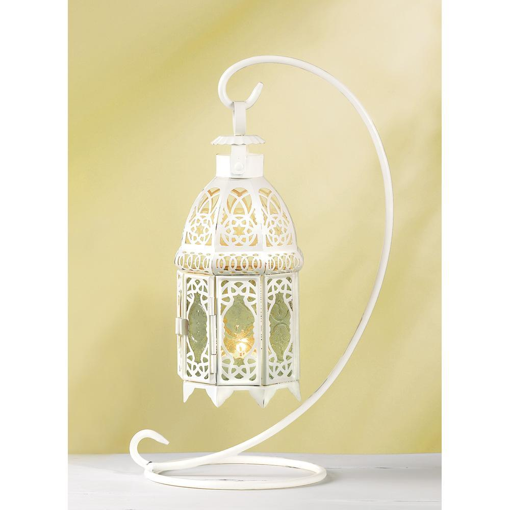 White Fancy Lantern W/stand