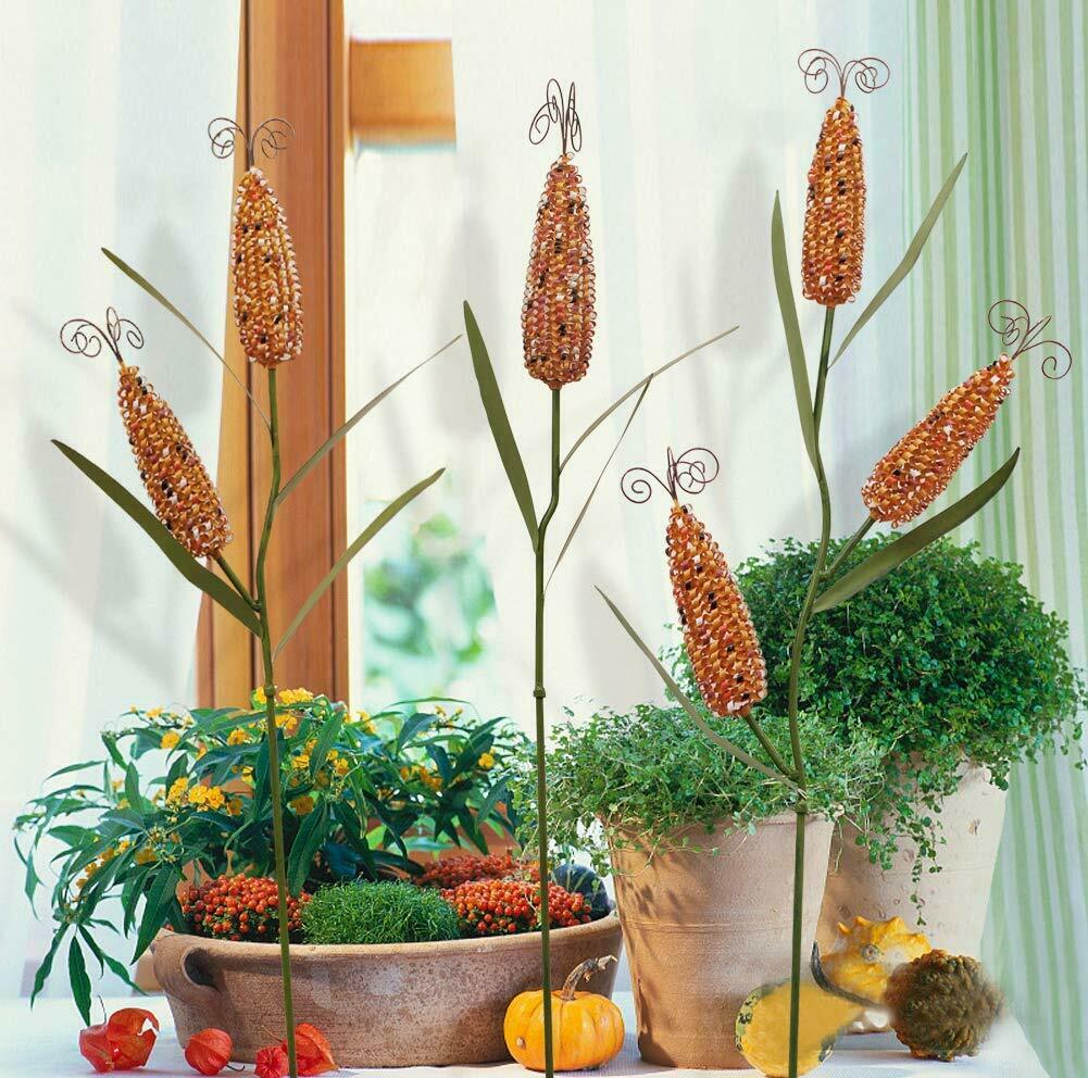 Metal Harvest Corn Stalk Decoration Set