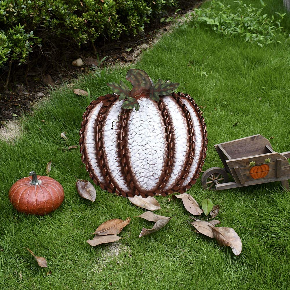 "Metal Pumpkin 19"" White"