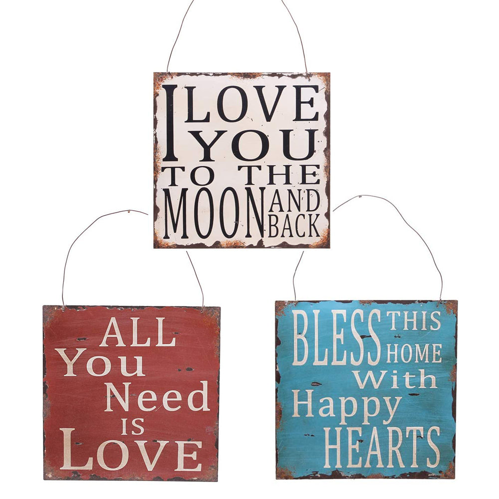 Vintage Metal Wall Sign Love