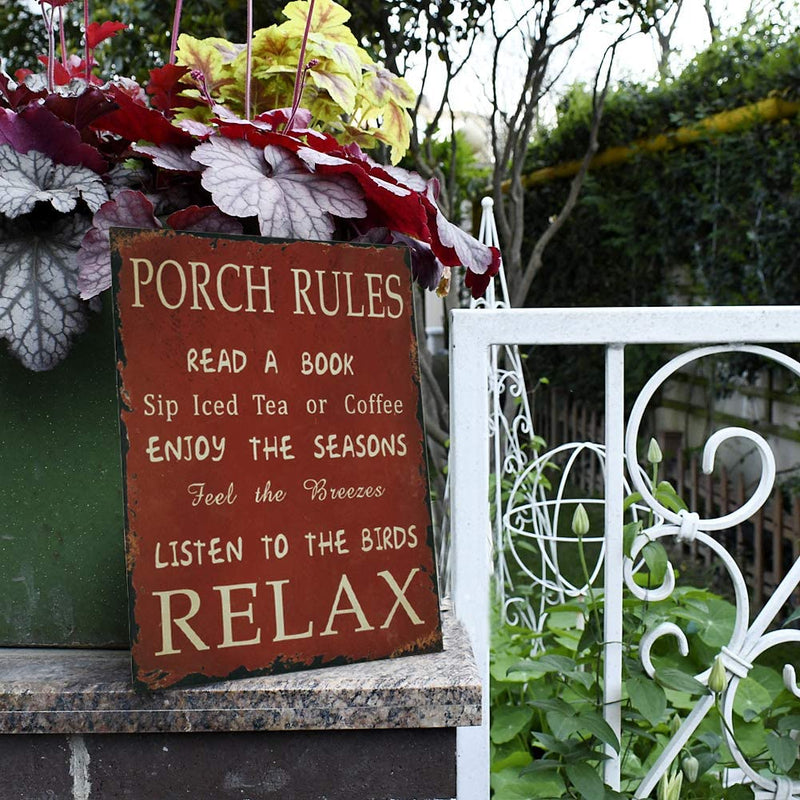 Vintage Metal Porch Rules Sign