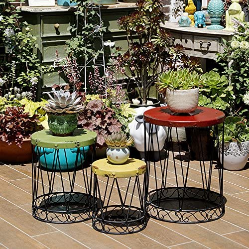 Nostalgia Metal Side End Table Set of 3