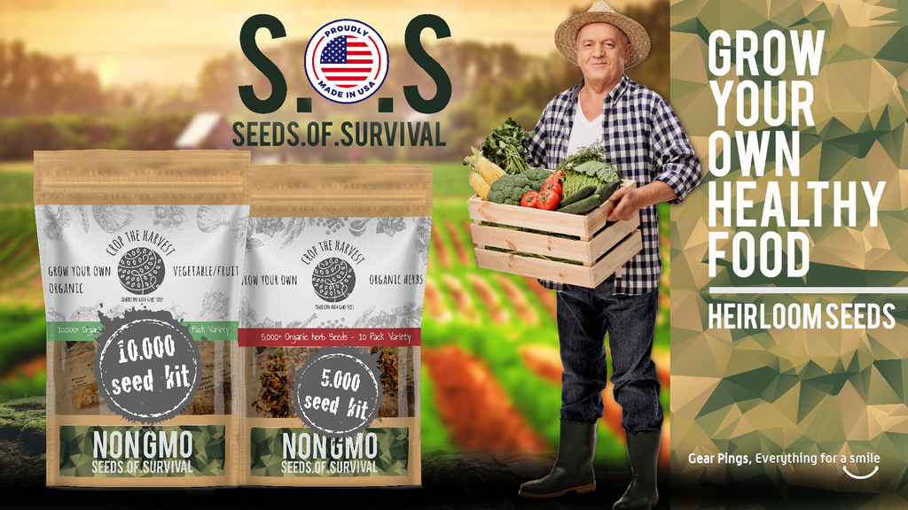 10,000+ S.O.S Seeds Of Survival Vegetable Organic Seed Kit