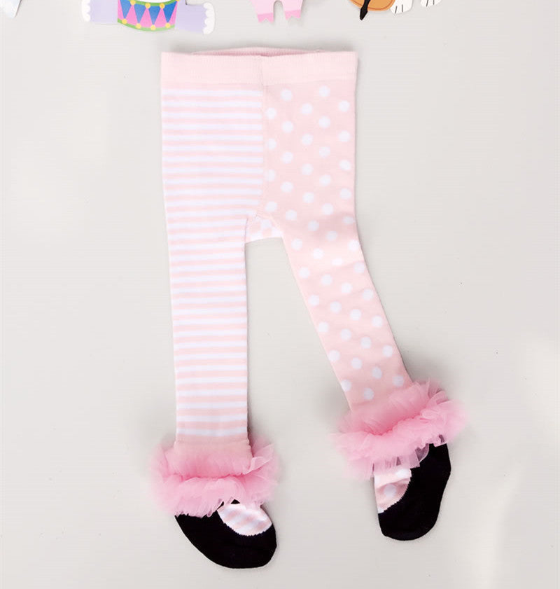 0-36 Months Baby Princess Pink Ballet Tights Bow Yarn Lace Newborn Stocking Girls Bebe Cotton Pantyhose Meias Infantil Clothes - 10MINUS: Online Shopping Destination with High-Quality
