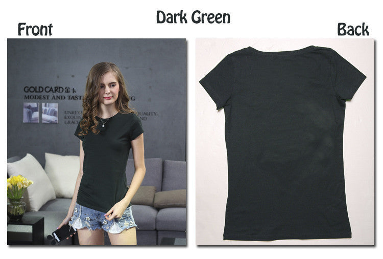 2016 New High Quality 18 Color Simple T Shirt Women Solid color Tees Plain Cotton short sleeve T-shirt Female Tops Black 0002 - 10MINUS: Online Shopping Destination with High-Quality