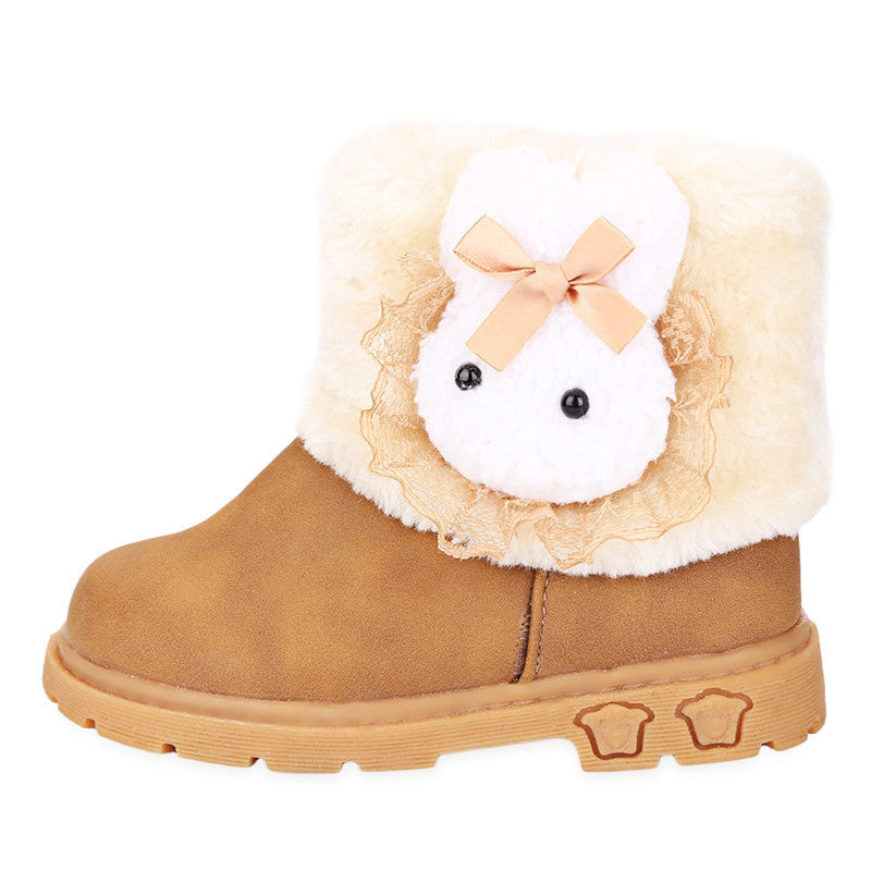 2016 Fashion Charming Winter Warm Snow Boots for Children Girl Cotton Fabric Rabbit Pattern Decoration Baby Girl Shoes - 10MINUS: Online Shopping Destination with High-Quality
