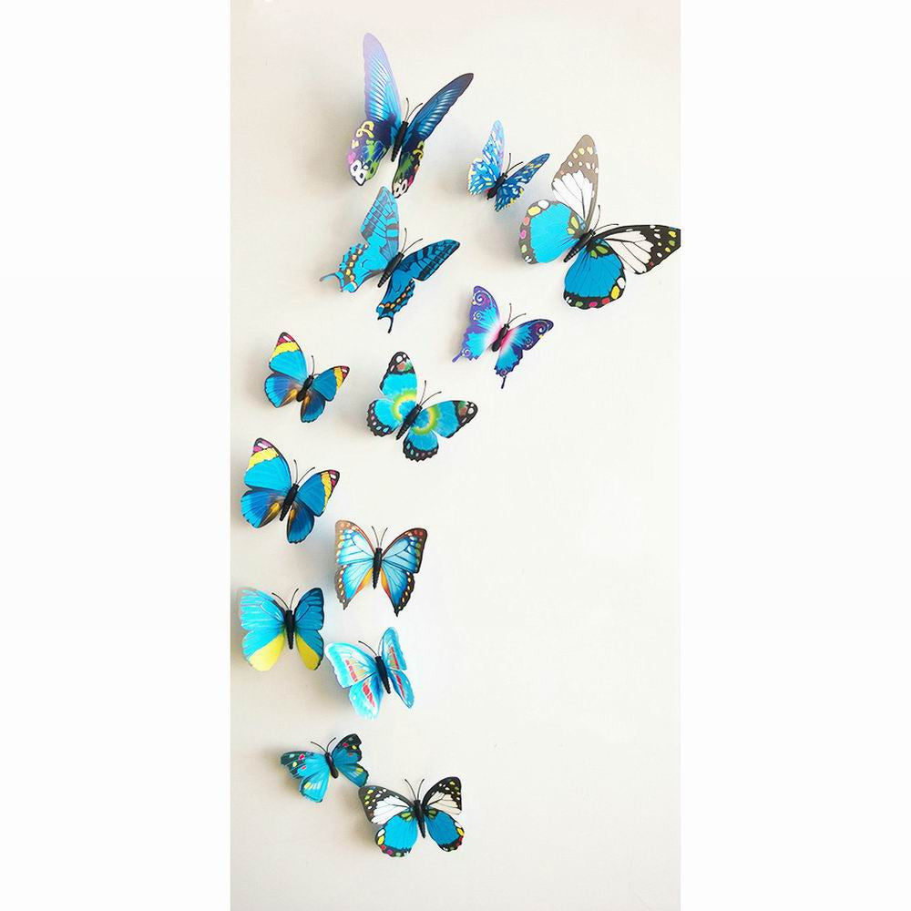 3D Butterfly Wall Decals Multicolor PVC Wall Stickers For TV Wall Kids Bedroom Wall Home house Decoration New fashion - 10MINUS: Online Shopping Destination with High-Quality