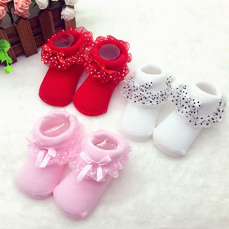 1 Pair High Quality 0-6 Month Toddlers Infants Babys Cotton Ankle Socks Lovely Girls Princess Bowknots Socks 3 Colors - 10MINUS: Online Shopping Destination with High-Quality