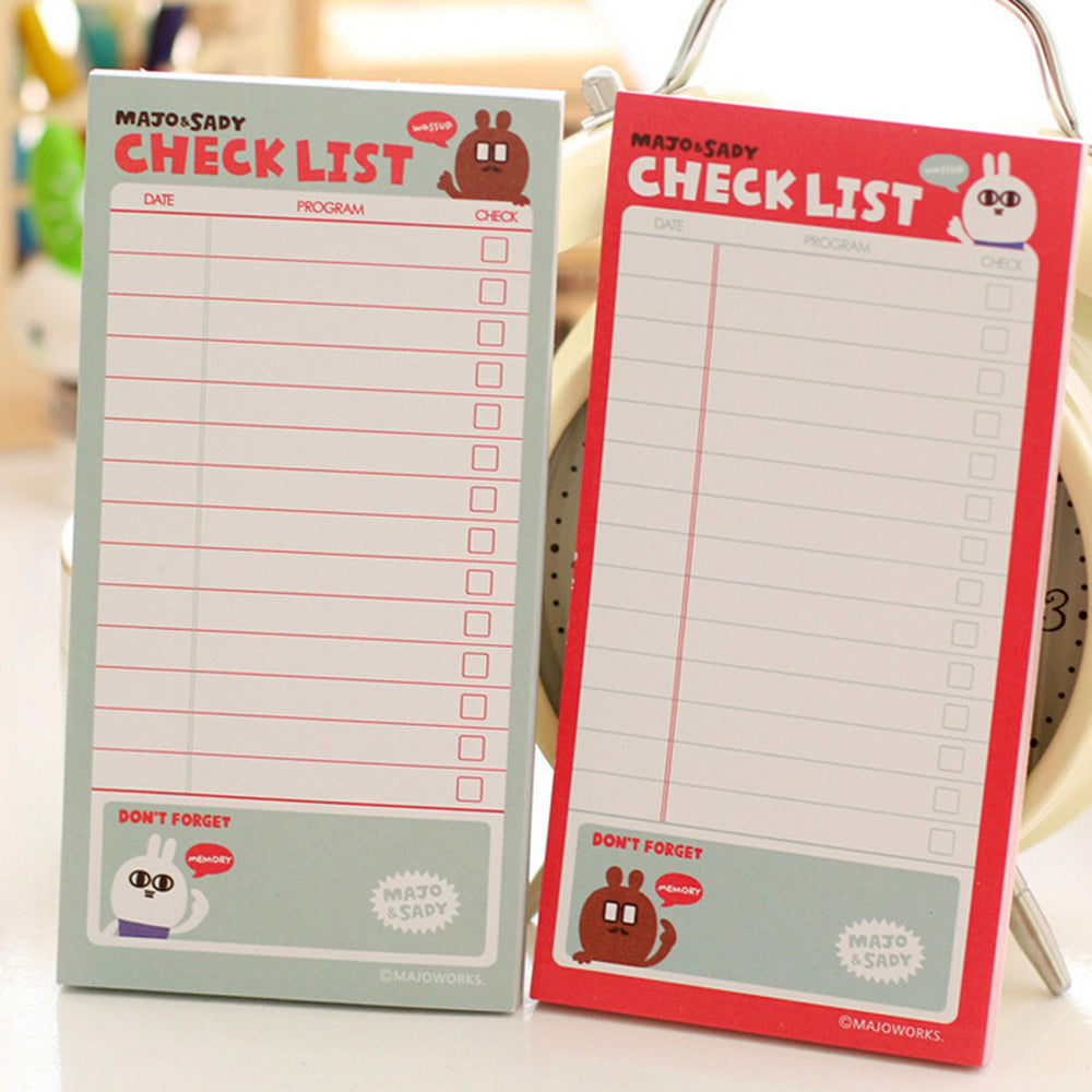 1 PC Checklist To Do List Post It Planner Stickers Paper Sticky Notes Cute Korean Stationery Office Supplies 50Pages - 10MINUS: Online Shopping Destination with High-Quality