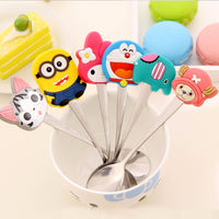1 pcs kawaii cartoon silicone handle stainless steel spoon ice cream dessert spoon  fashion tea coffee stirring dinnerware spoon - 10MINUS: Online Shopping Destination with High-Quality