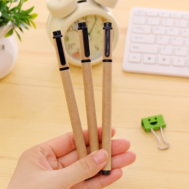 1 PCS New Kraft Paper Gel Pen Set Eco Friendly Kawaii School Supplies Office Stationary Kawaii Pens Stationery Gel Ink Pen Color - 10MINUS: Online Shopping Destination with High-Quality