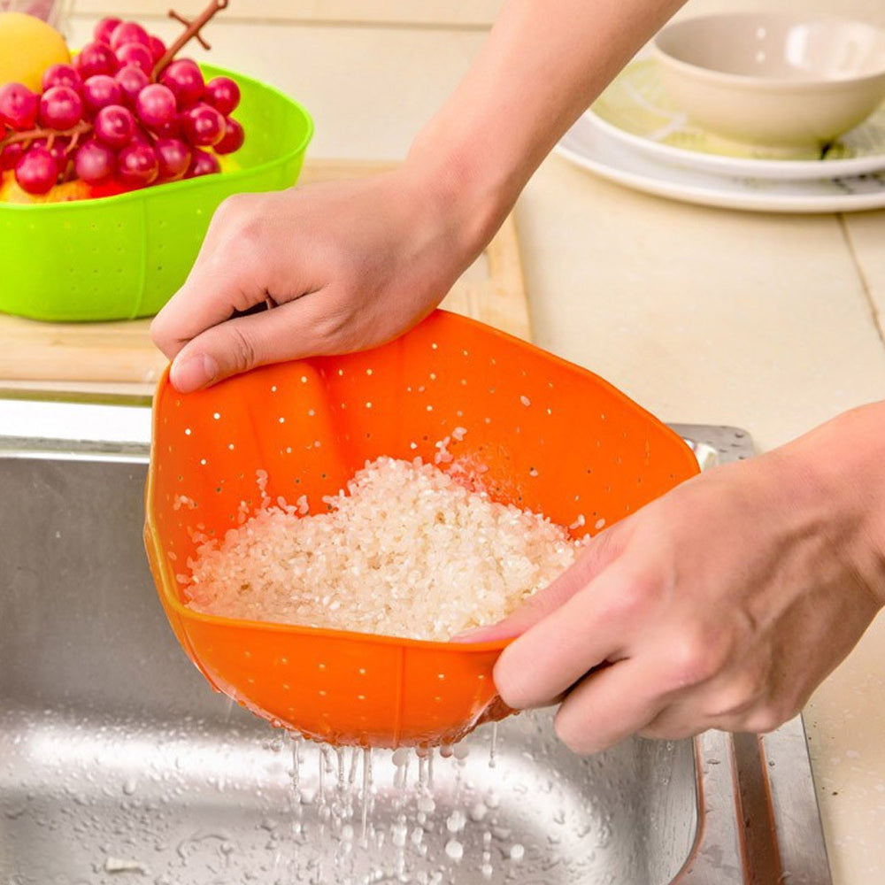 1 PCS Useful Multifunction Orange Silicone Kitchen Drain Basket, Rice Washing Vegetables and Fruit Baskets Microwave Dish Cover - 10MINUS: Online Shopping Destination with High-Quality