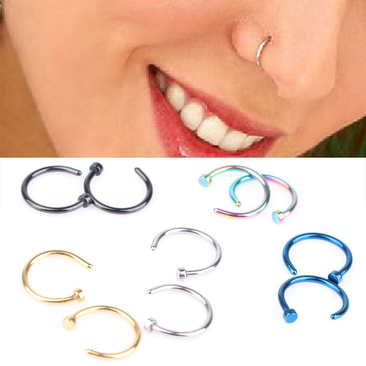 1 Piece! 2016  Wholesale Punk Style Body Piercing Jewelry Accessories Medical Titanium Nose Hoop Nose Rings 5 Colors Body-0120 - 10MINUS: Online Shopping Destination with High-Quality